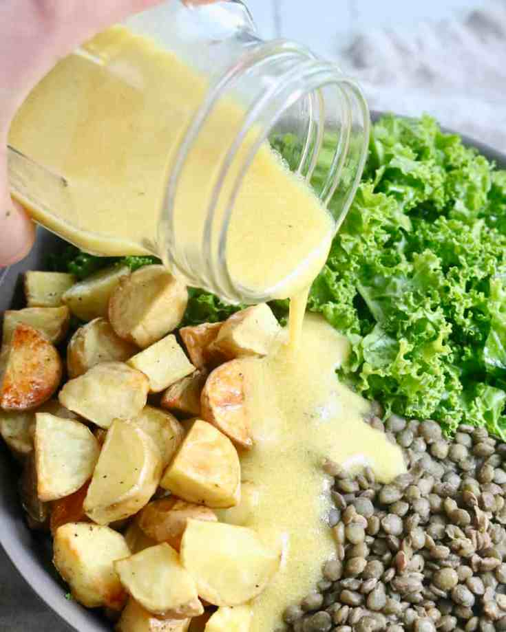 Hearty Kale combined with meaty lentils and crispy potatoes finished with an amazing tangy lemon mustard vinaigrette dressing . Perfect statement salad and great meal prep recipe! A must try!!!!! #lentils, #perfectlyraostedpotatoes, #lentilpotatosalad, #mustarddressing