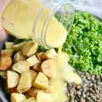 Hearty Kale Lentil Potato Salad with Mustard Vinaigrette