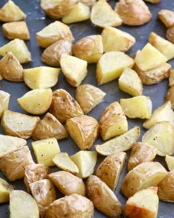 Roasted potatoes on a aheet pan