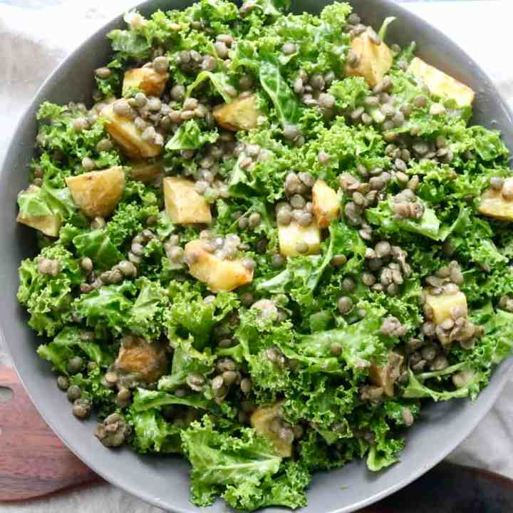 Kale Lentil Potato Salad Aerial Shot