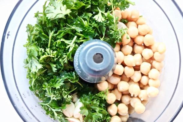 Falafel ingredients in food processor