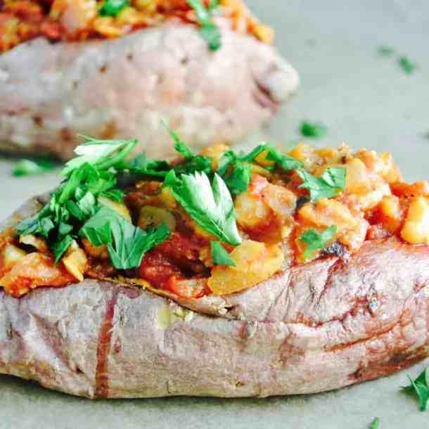 Sloppy Joe Stuffed Sweet Potatoes