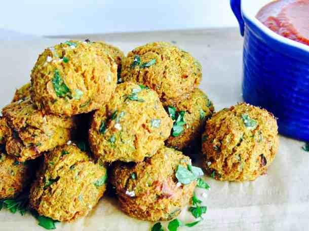 Veggie balls and dipping sauce
