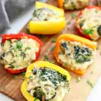 Spinach and Artichoke Stuffed Mini Peppers!