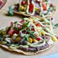 So Good for you Black Bean Veggie Tostadas with Avocado Cream!