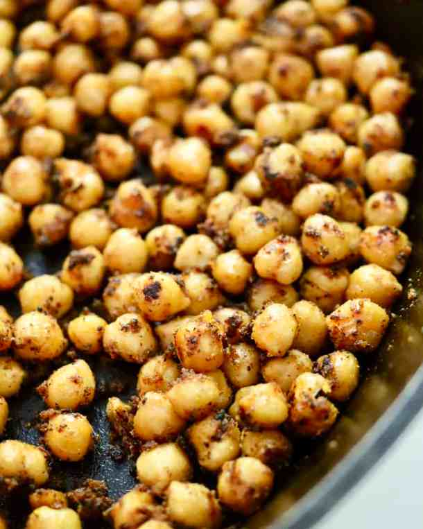 Roasted chickpeas in cast iron pan