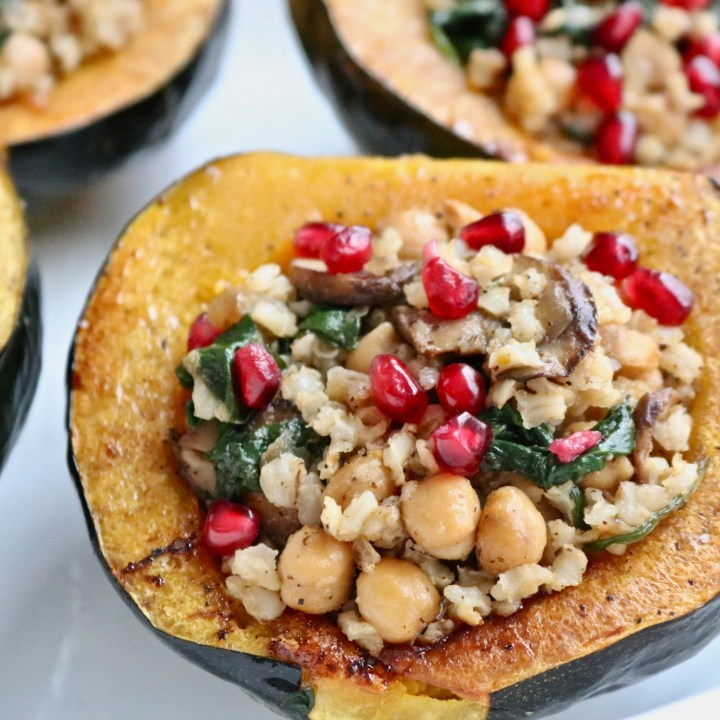 Brown rice and chickpea stuffed acorn squash