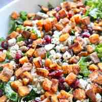 Simple Winter Kale Salad with Sweet Potato Croutons