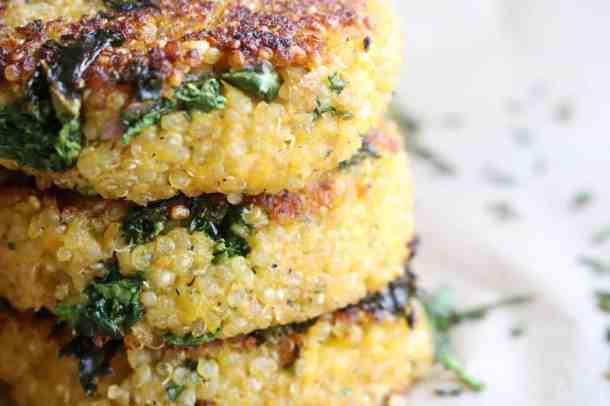Close up of stack of quinoa patties