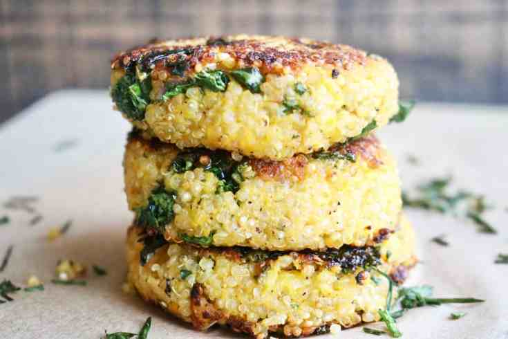 Quinoa mixed with sautéed kale, butternut squash and an incredible combo of onion, garlic and chili powder. Formed into patties and sautéed in some olive oil for a crispy outer layer and soft flavorful center. Perfect for a snack, side dish or even a main meal paired with a salad or a fried egg on top! Vegetarian, gluten-free and heart healthy. Great meal prep recipe! #quinoa, #quinoarecipes, #quinoapatties, #kale, #butternutsquash, #mealpreprecipes