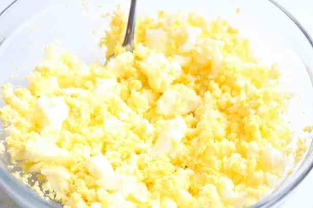 Mashed hard boiled eggs