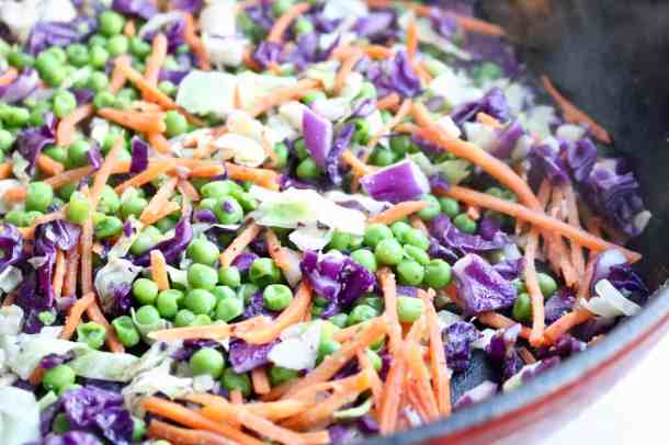 stir fry veggies in pan