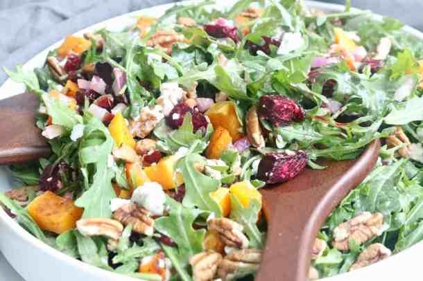 Close up shot of winter arugula salad