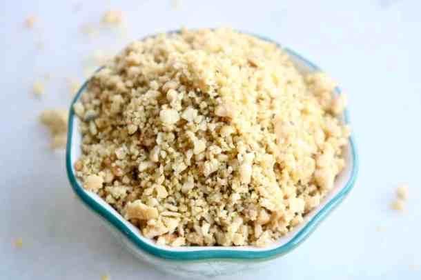 Bowl of vegan parmesan