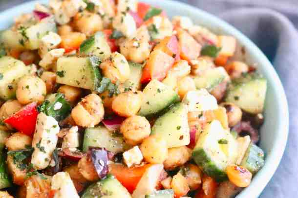 Close up of Mediterranean Roasted Chickpea Salad