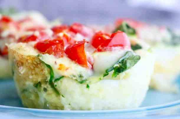 Close up of veggie egg white bites