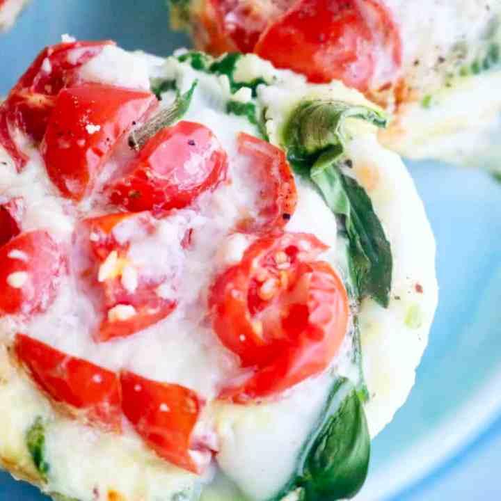 Veggie egg white bites on blue plate