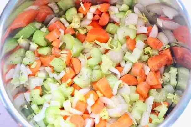 Veggies cooking in instant pot