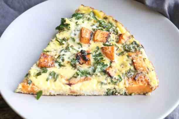 Slice of kale and sweet potato frittata