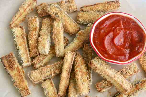 Pile of baked eggplant fries