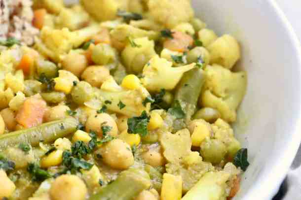 Close up of Vegetable Chickpea Coconut Curry  in a bowl