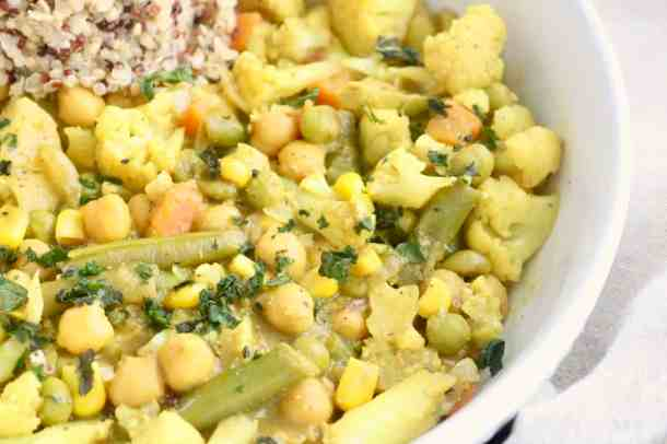 Delicious close up photo of Vegetable Chickpea Coconut Curry Dish