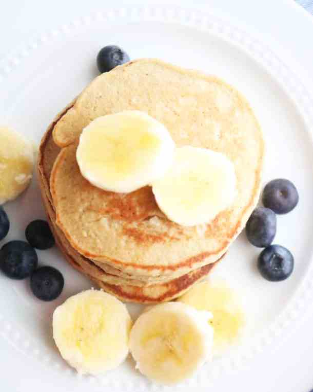 Aerial view of healthy pancakes