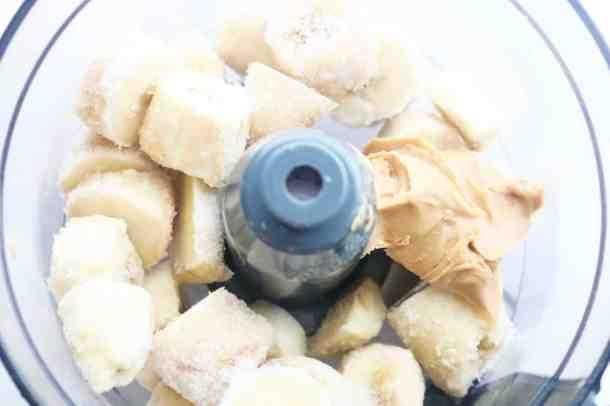 Diary free banana ice cream ingredientss in blender