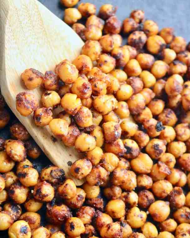 Roasting chickpeas in a pan