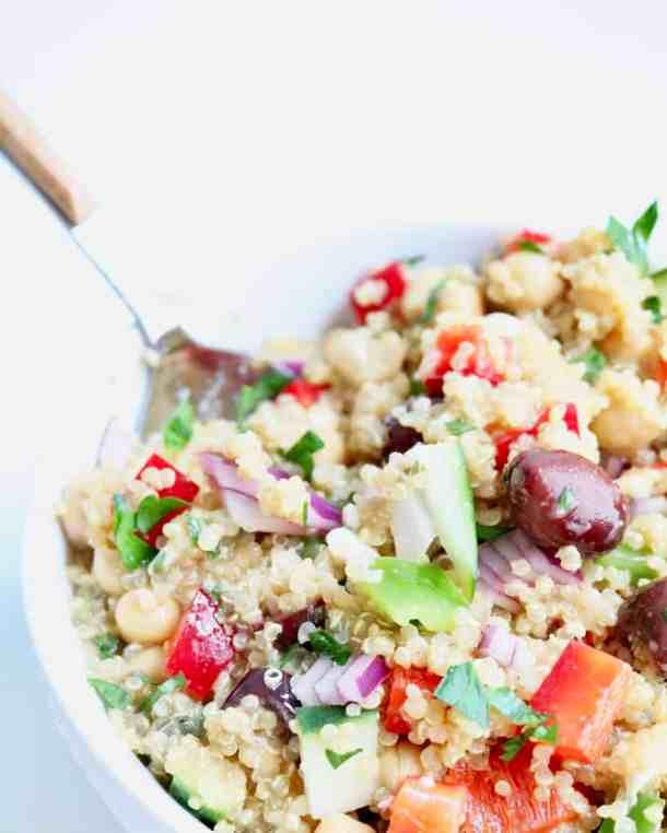 Greek quinoa salad in a bowl