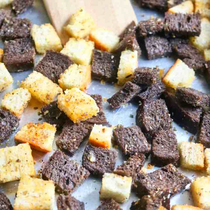 Homemade Baked Croutons on Pan