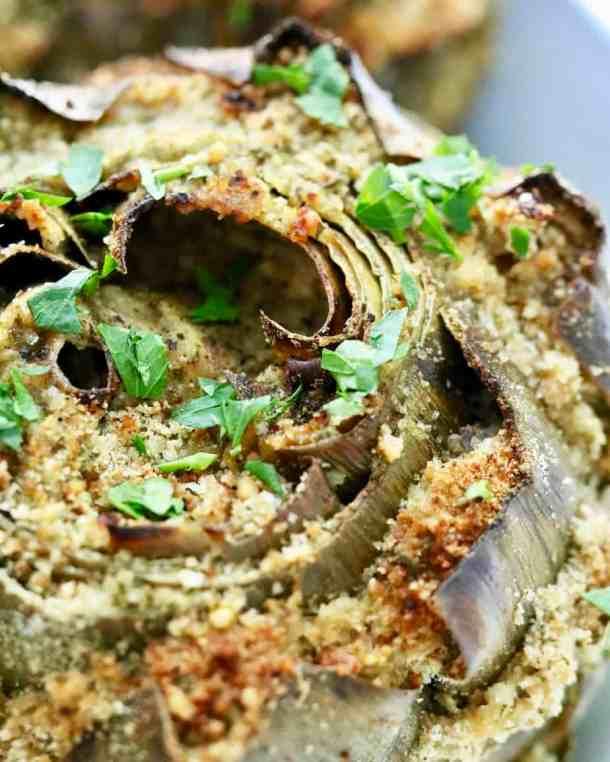 Close up of stuffed artichoke