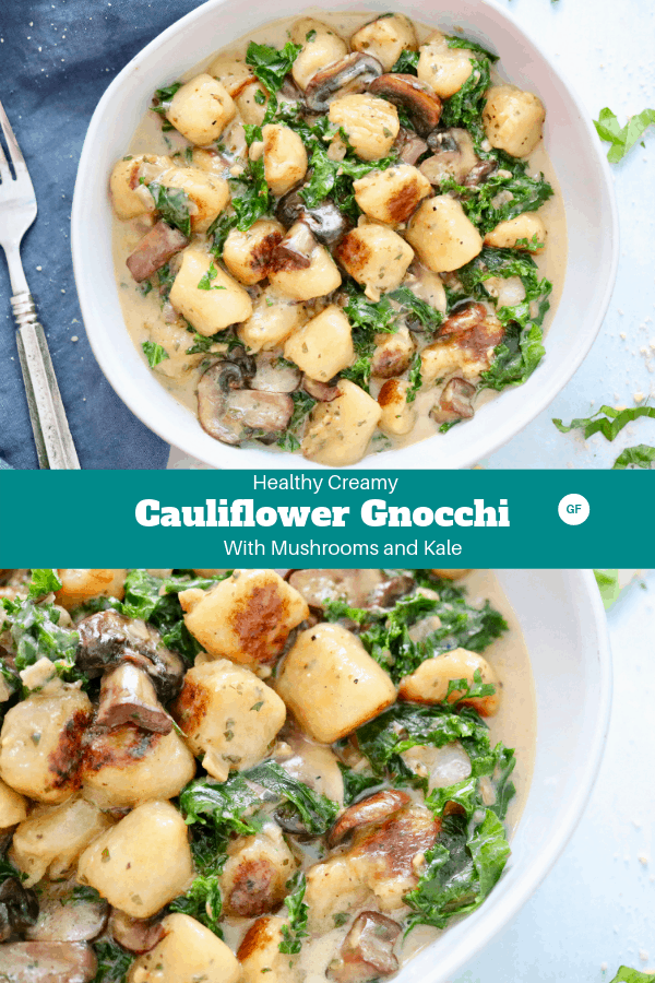 Healthy Creamy Cauliflower Gnocchi with Mushrooms and Kale