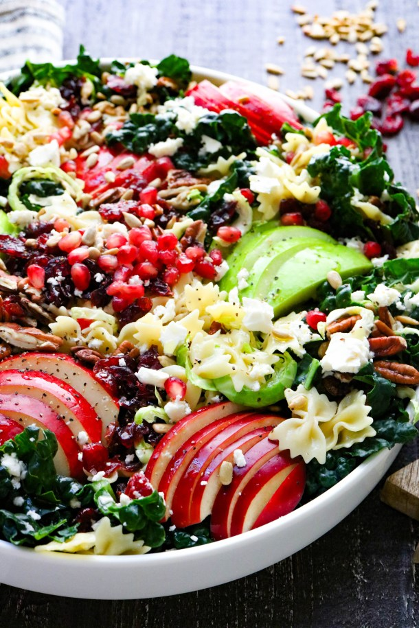 Eye level view of autumn crunch pasta salad