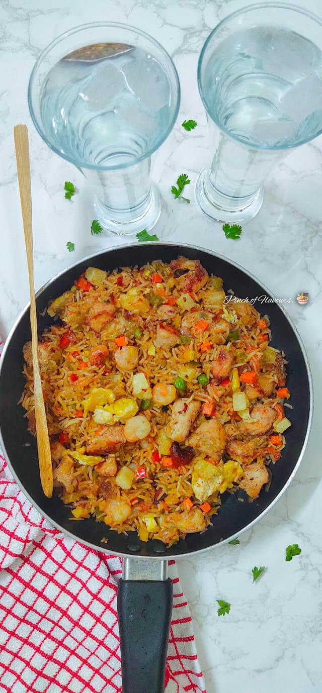 Pineapple chicken prawn fried rice Recipe