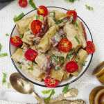 Instant Pot Vegan Tuscan Spinach Rigatoni