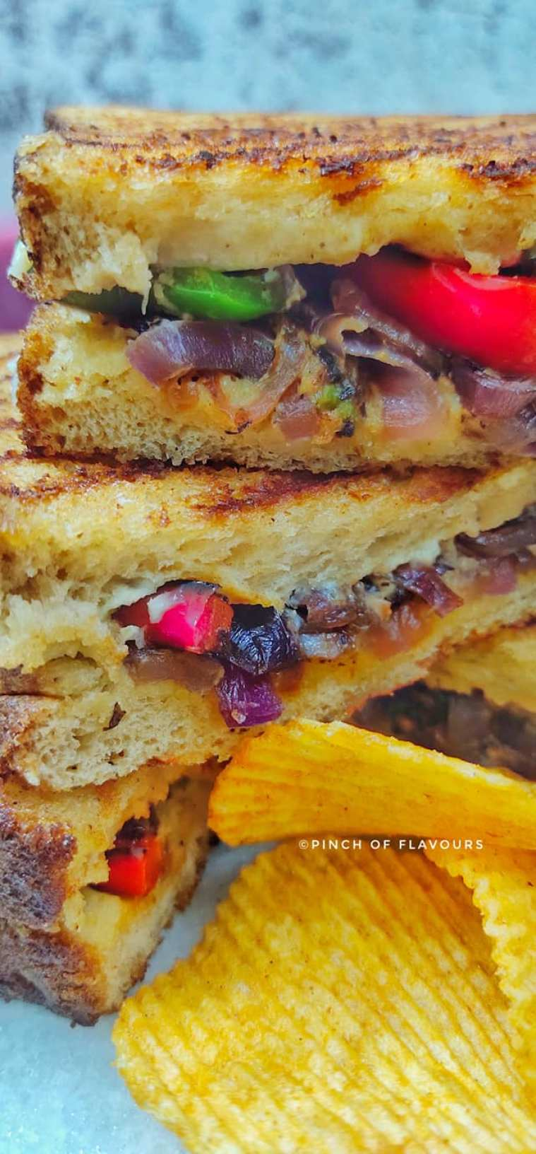 Quick & Easy Grilled Hummus Sandwich With Caramelized Onions