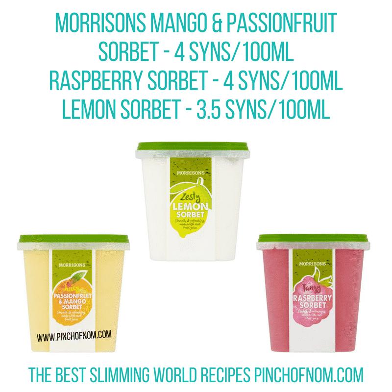 Morrisons sorbet - Pinch of Nom Slimming World Shopping Essentials