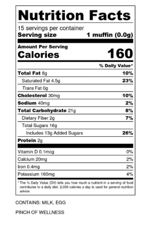 nutrition label: gluten free banana chocolate chip muffins