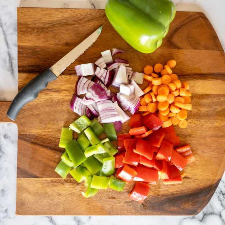 Hawaiian Vegetables chopped on a cutting board