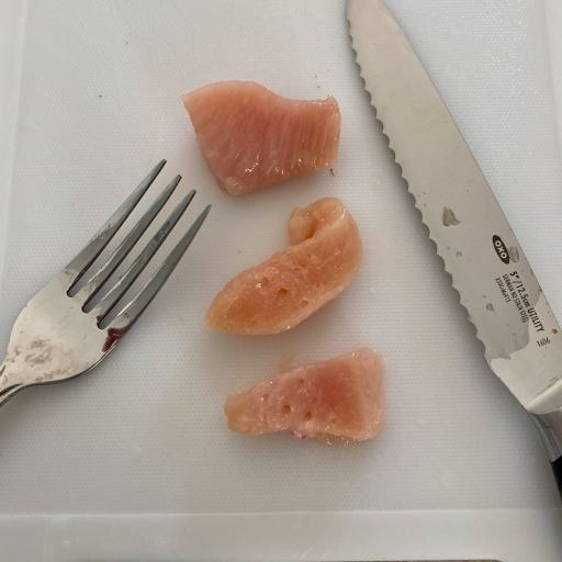 Chicken cut into cubes