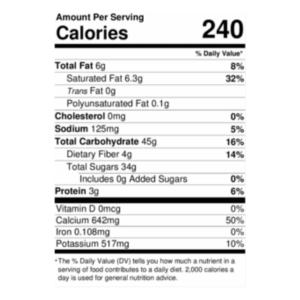 Pina Colada Smoothie Nutrition