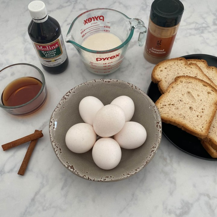 ingredients for healthy french toast cups
