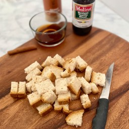 Bread cut into cubes for the baked french toast muffins
