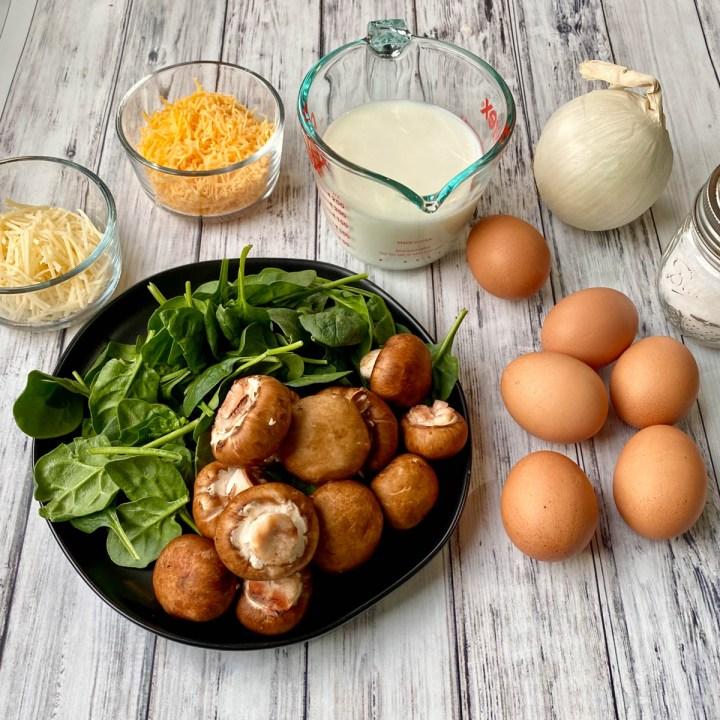 ingredients in a healthy gluten free quiche