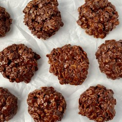 No Bake Cookies Without Peanut Butter on parchment paper