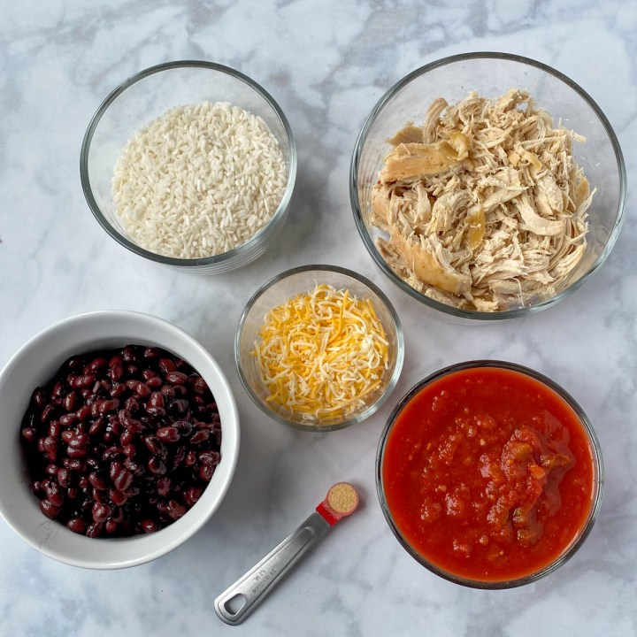 Ingredients needed for a Chicken Burrito Skillet