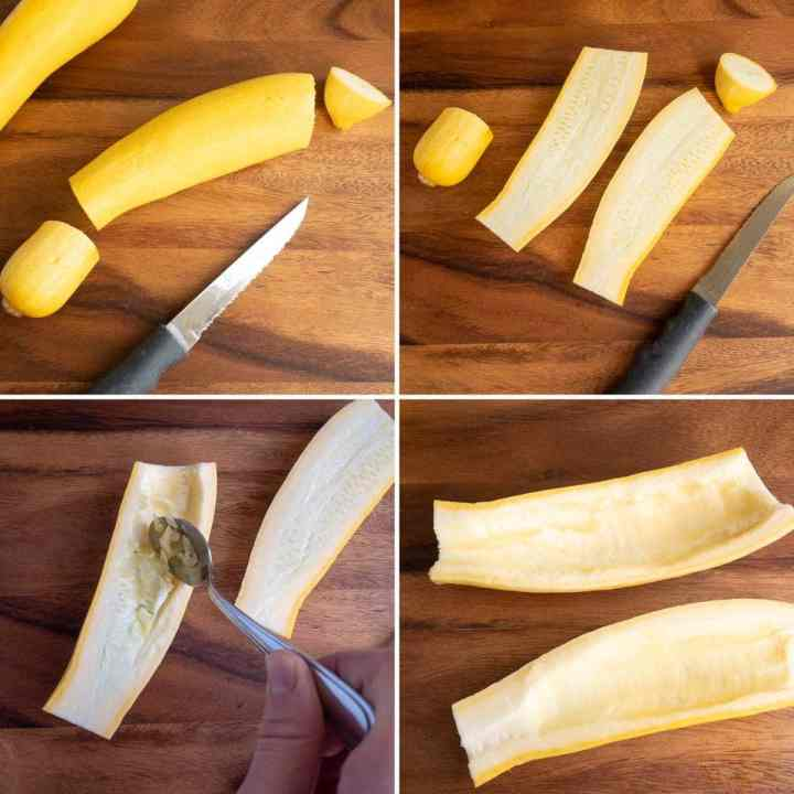 how to cut yellow squash boats