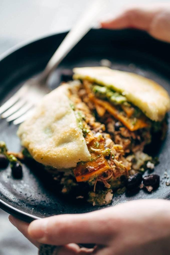 Arepas with Carnitas and Sweet Potato Recipe - Pinch of Yum