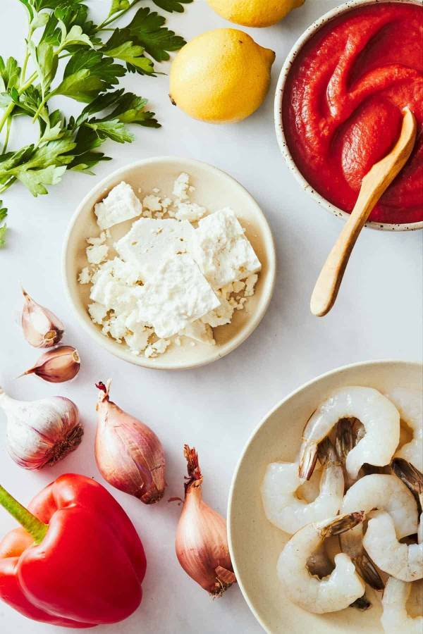 Ingredients for baked shrimp with feta.
